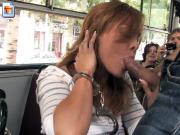Sultry looking hottie sucks off her boyfriend in the bus