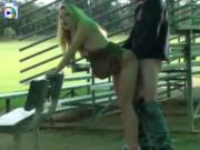 Voyeur cam catches kinky couple fucking at a highschool ball park