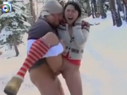 Snow bunny fucked in the forest