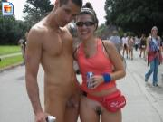 Girl drops her pants to pose with naked guy