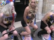 Topless Ukraine girls pissing as protest
