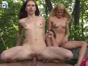 Two teens take turns on a lucky dudes dick
